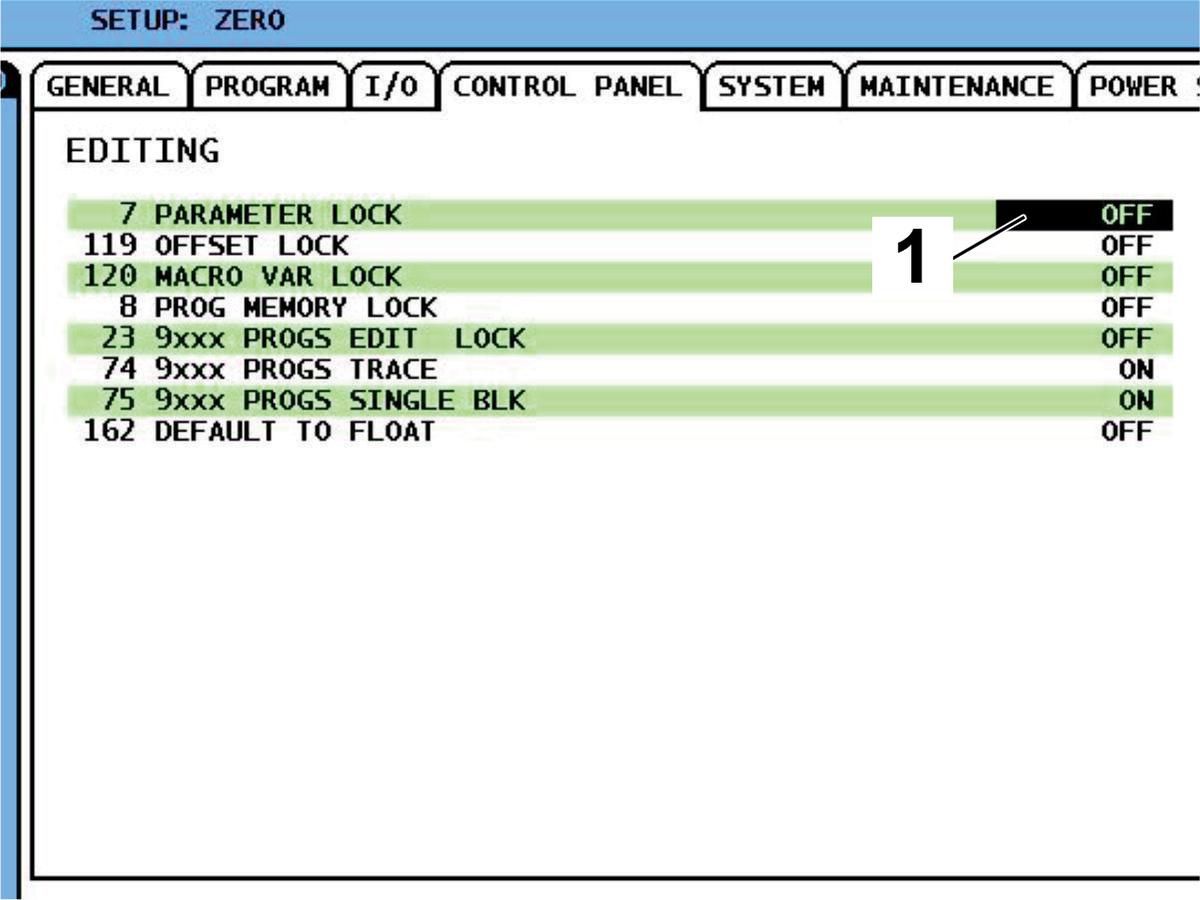 Spindle Parameter Activation