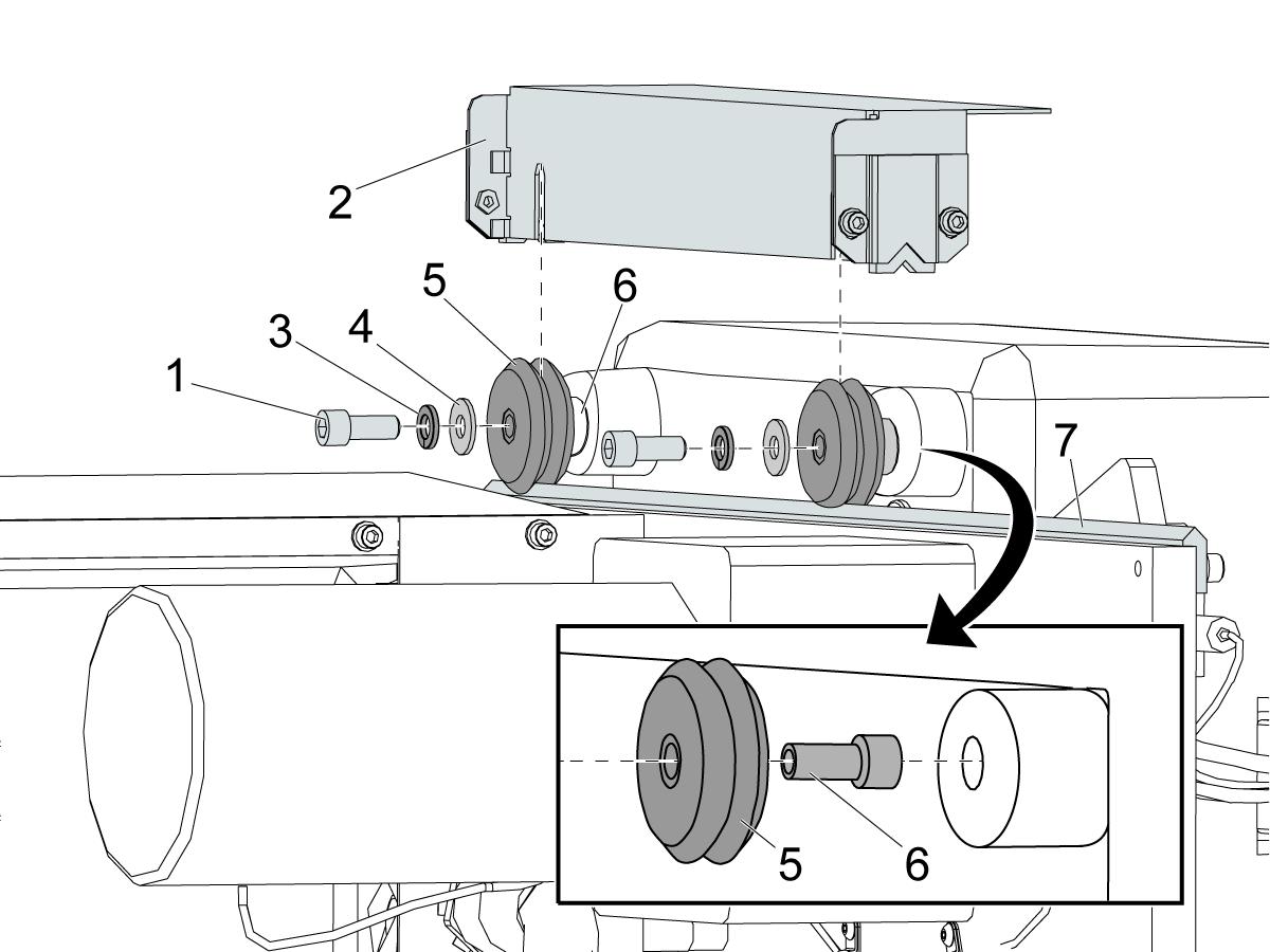 umbrella tool changer - shuttle roller